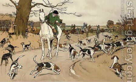 The Harefield Harriers - The check in the road by Cecil Charles Aldin - Reproduction Oil Painting