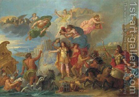 Louis XIV armed on the land and on the sea by (after) Charles Le Brun - Reproduction Oil Painting