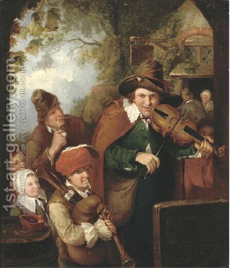 The Wandering Musicians by (after) Christian Wilhelm Ernst Dietrich - Reproduction Oil Painting