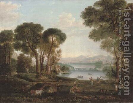 An Italianate river landscape with figures dancing and making music on a bank, a town beyond by Claude Lorrain (Gellee) - Reproduction Oil Painting
