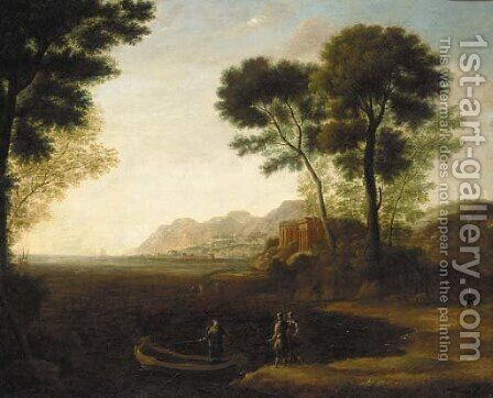 A coastal inlet with the embarkation of Carlo and Ubaldo by Claude Lorrain (Gellee) - Reproduction Oil Painting