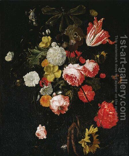 A swag of tulips by (after) Cornelis De Heem - Reproduction Oil Painting