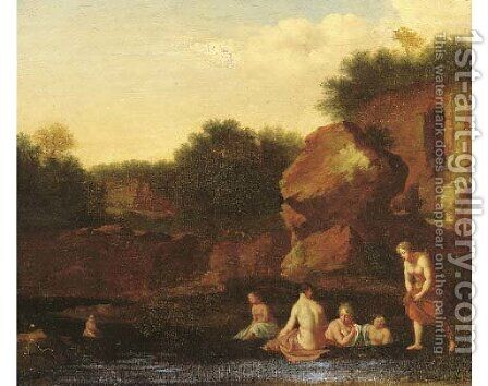 Nymphs bathing by a ruin by (after) Cornelis Poelenburgh - Reproduction Oil Painting