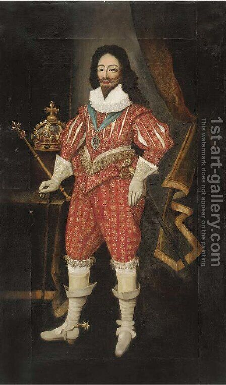 Portrait of King Charles I (1600-1649), full-length, wearing a red doublet and breeches, with a crown and sceptre to his side by (after) Daniel Mytens - Reproduction Oil Painting