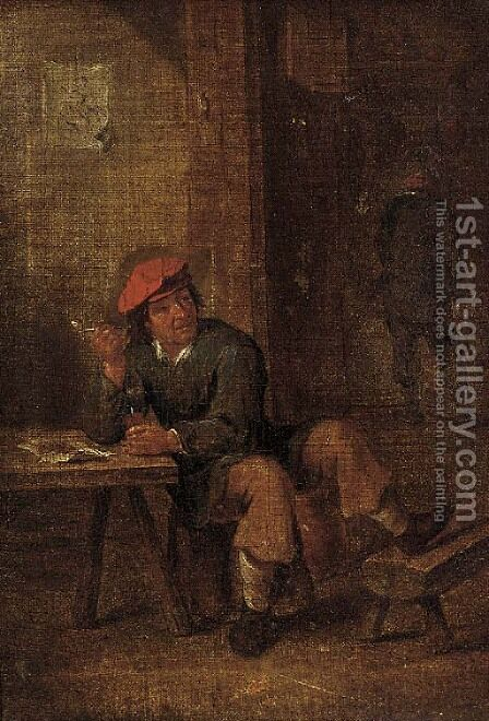 A peasant enjoying a smoke in a tavern by (after) David Teniers - Reproduction Oil Painting
