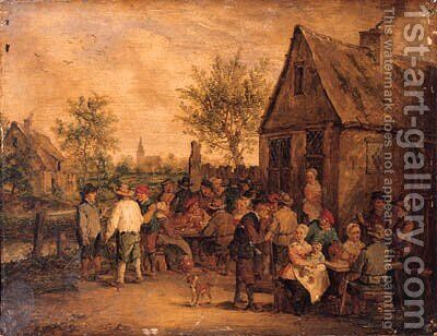 Boors smoking, drinking and playing at cards outside an inn by David The Younger Teniers - Reproduction Oil Painting