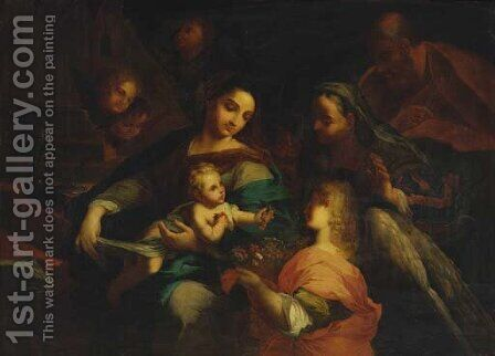 The Holy Family with Saint Elizabeth and an angel by (after) Domenico Piola - Reproduction Oil Painting
