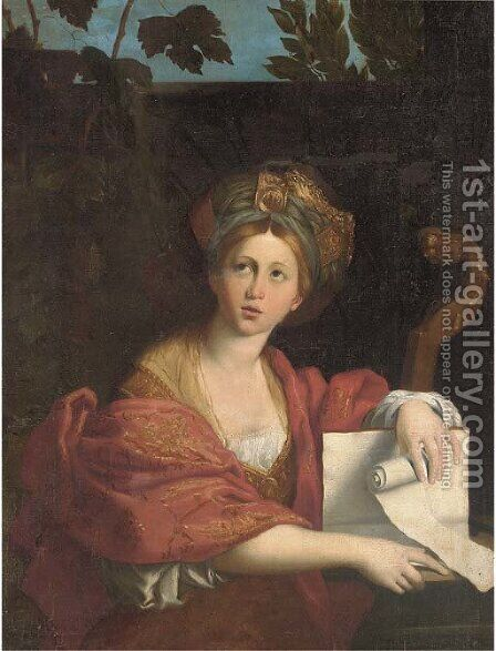 The Cumaean Sibyl 2 by (after) Domenichino (Domenico Zampieri) - Reproduction Oil Painting