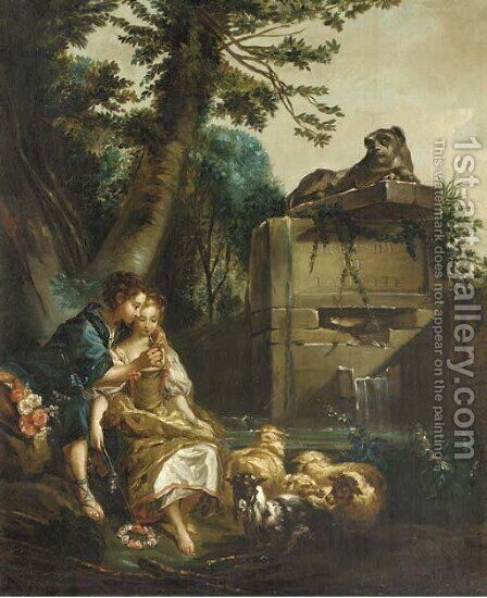 A shepherd teaching a shepherdess to play the flute by (after) Francois Boucher - Reproduction Oil Painting