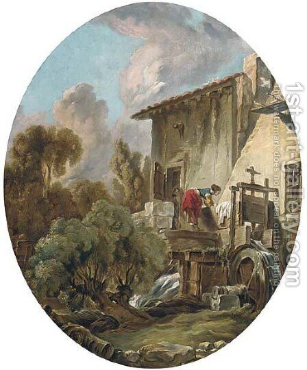 A woman washing clothes at a mill by (after) Francois Boucher - Reproduction Oil Painting