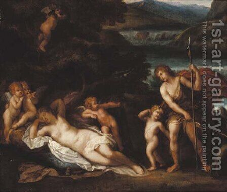 Venus and Adonis by (after) Francesco Albani - Reproduction Oil Painting