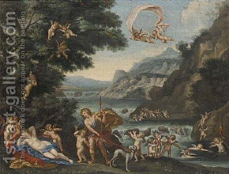 Venus and Adonis 2 by (after) Francesco Albani - Reproduction Oil Painting
