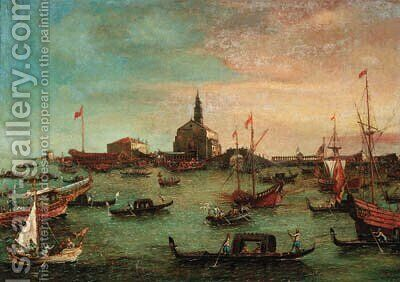 The Bucintoro at San Nicol del Lido, Venice by (after) Francesco Guardi - Reproduction Oil Painting