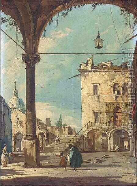 Elegant figures beneath arches 2 by (after) Francesco Guardi - Reproduction Oil Painting