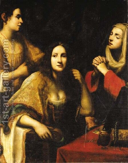 Martha reproaching Mary Magdalen by (after) Francesco Lupicini - Reproduction Oil Painting