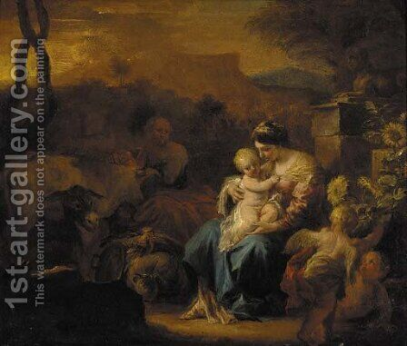 The Rest on the Flight into Egypt by (after) Francesco Solimena - Reproduction Oil Painting