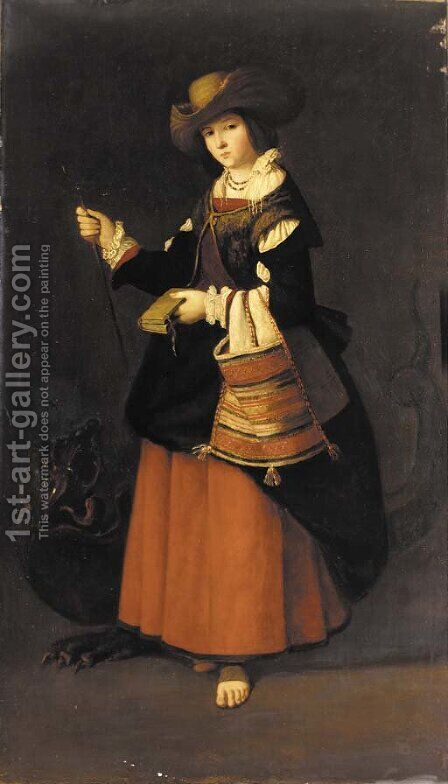 Saint Margaret, Virgin Martyr of Antioch by (after) Francisco De Zurbaran - Reproduction Oil Painting