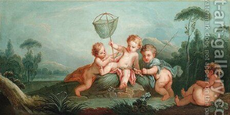 Les pecheurs by (after) Francois Boucher - Reproduction Oil Painting