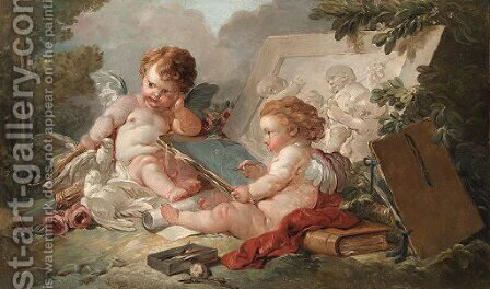 A winged putto sketching Cupid, by a bas-relief of children playing, in a landscape by (after) Francois Boucher - Reproduction Oil Painting
