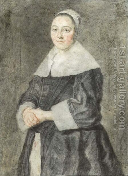 Portrait of a lady, small three quarter length, in a black dress with a white collar and white cuffs by (after) Frans Hals - Reproduction Oil Painting