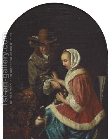 'Teasing the Pet' by (after) Frans Van The Elder Mieris - Reproduction Oil Painting