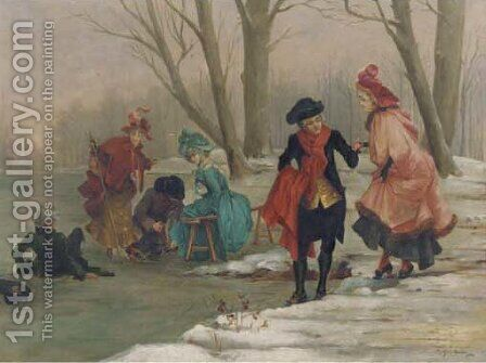 Elegant company on the ice by (after) Frederik Hendrik Kaemmerer - Reproduction Oil Painting