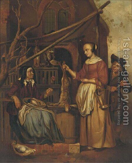 The poultry seller by (after) Gabriel Metsu - Reproduction Oil Painting