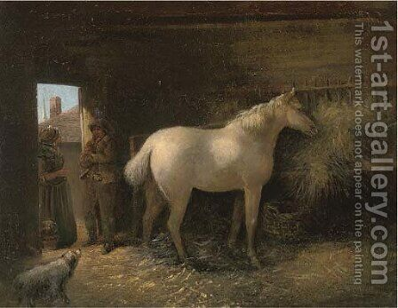 In the stable by (after) George Morland - Reproduction Oil Painting
