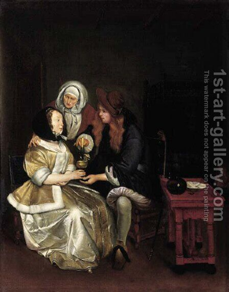 An elegant couple attended by a procuress by (after) Gerard Ter Borch - Reproduction Oil Painting