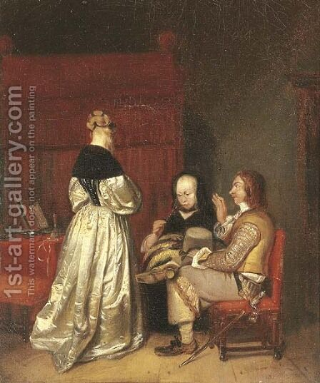 The paternal admonition by (after) Gerard Terborch - Reproduction Oil Painting