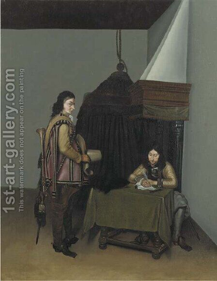 Two officers in a guardroom by (after) Gerard Terborch - Reproduction Oil Painting