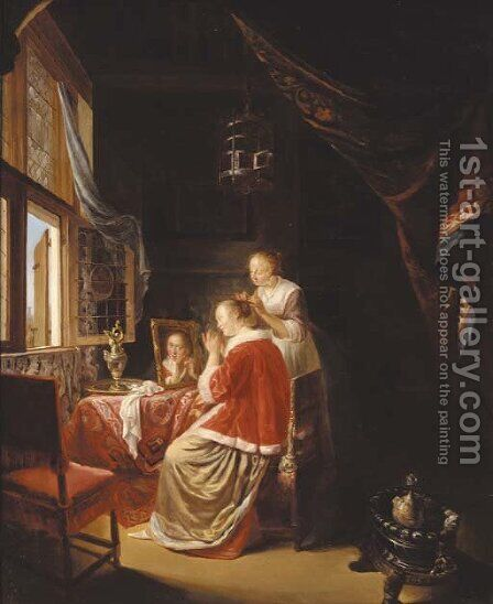 The morning toilet by (after) Gerrit Dou - Reproduction Oil Painting