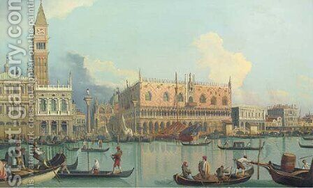 The Molo and the Palazzo Ducale, Venice by (Giovanni Antonio Canal) Canaletto - Reproduction Oil Painting