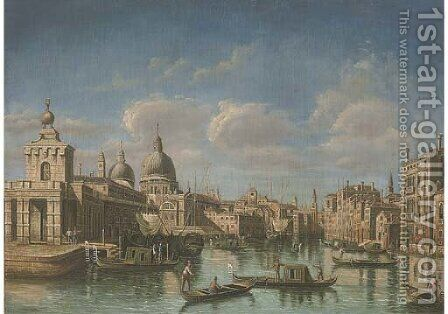 The Grand Canal, Venice, looking west to Sante Maria della Salute by (Giovanni Antonio Canal) Canaletto - Reproduction Oil Painting