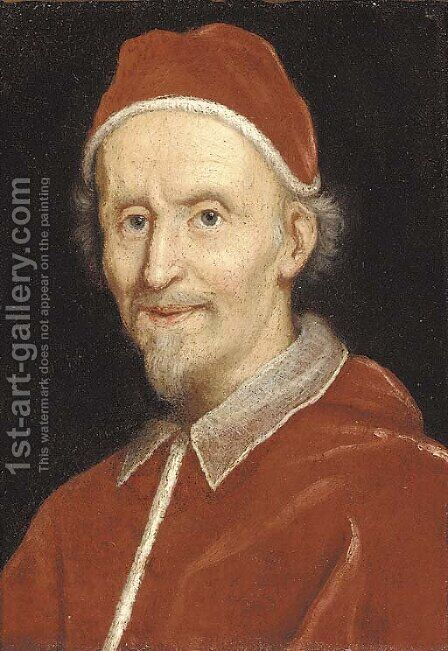 Portrait of Pope Clement IX, bust-length by (after) Giovanni Battista (Baciccio) Gaulli - Reproduction Oil Painting