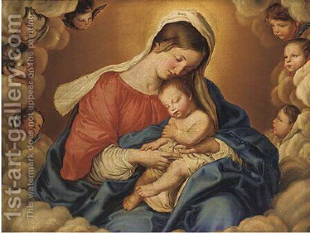 The Madonna and Child in Glory by (after) Giovanni Baptista Salvi, Called Sasseferroto - Reproduction Oil Painting
