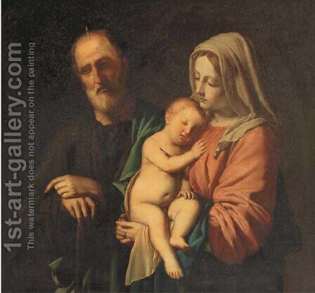 The Holy Family by (after) Giovanni Baptista Salvi, Called Sasseferroto - Reproduction Oil Painting