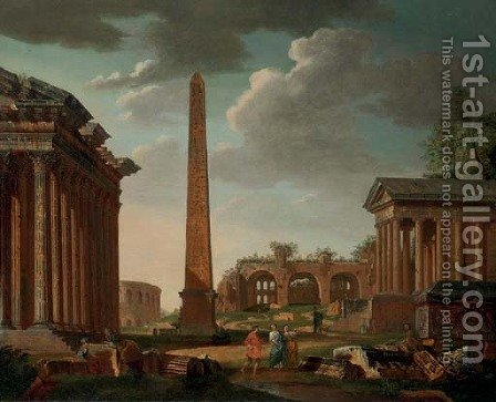 A capriccio with figures among the ruins of the Temples of Adrian and Fortuna Virile and an obelisk by (after) Giovanni Paolo Panini - Reproduction Oil Painting