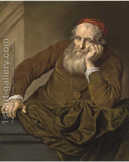 Portrait of an old man, half-length, wearing a red hat by Govert Teunisz. Flinck - Reproduction Oil Painting