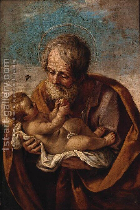 Joseph with the Christ child in his arms by (after) Guido Reni - Reproduction Oil Painting