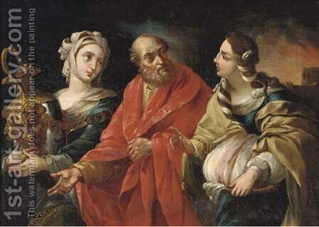 Lot and his Daughters 2 by (after) Guido Reni - Reproduction Oil Painting