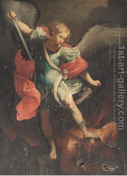 The Archangel Michael by (after) Guido Reni - Reproduction Oil Painting