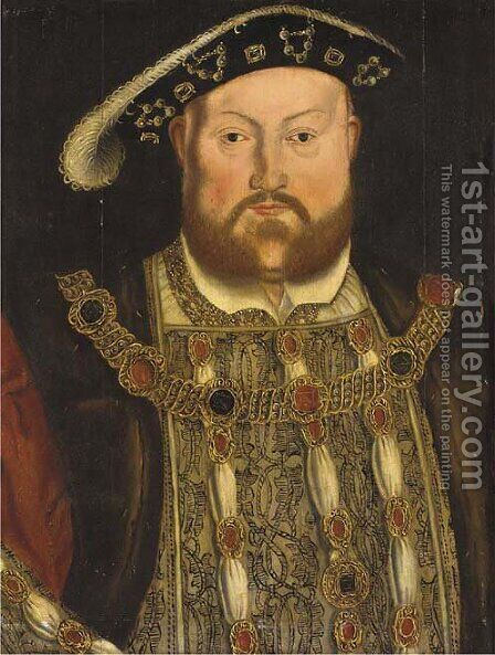 Portrait of Henry VIII (1491-1547), half-length, with a jewelled tunic and chain 2 by Hans, the Younger Holbein - Reproduction Oil Painting