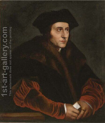 Portrait of Sir Thomas More (1478-1535), half-length, in a fur lined coat by Hans, the Younger Holbein - Reproduction Oil Painting