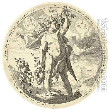 The Four Seasons (Holl. XI 300-303) by (after) Hendrick Goltzius - Reproduction Oil Painting