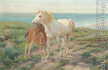 A mare and foal on a clifftop by (after) Henry William Banks Davis - Reproduction Oil Painting