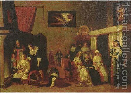 Elegant ladies visiting the mother of a new baby by (after) Hieronymus Janssens - Reproduction Oil Painting