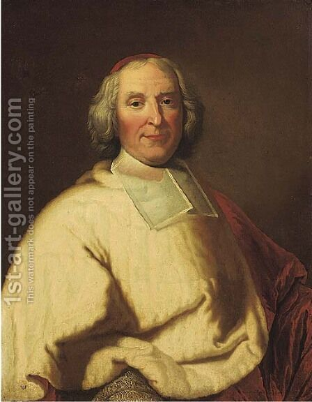 Portrait of Cardinal Fleury, half-length, in red and white robes by (after) Hyacinthe Rigaud - Reproduction Oil Painting