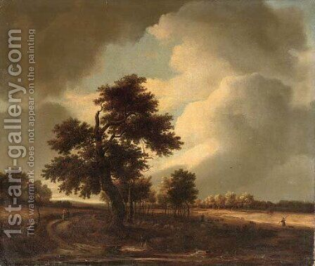 A wooded landscape with travellers on a track and a shepherd with his flock by Isaak van Ruisdael - Reproduction Oil Painting