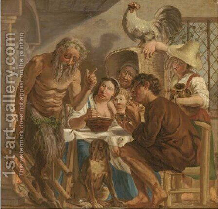 The Satyr and the Peasant by (after) Jacob Jordaens - Reproduction Oil Painting